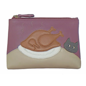 Cat Turkey Dinner Leather Coin Purse