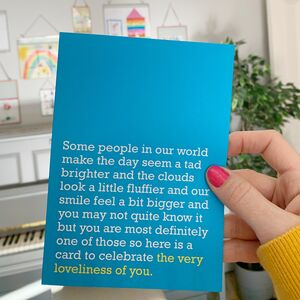 Loveliness Of You: Thank You Card To Celebrate Someone