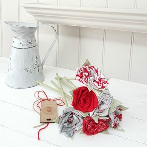 Christmas Nordic Fabric Flowers With Engraved Tag