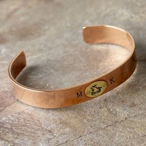 Chunky Cuff With Solid Brass Zodiac Oval - bracelets