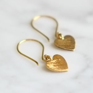 Brushed Gold Love Heart Earrings - earrings
