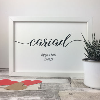 Personalised Cariad Framed Print