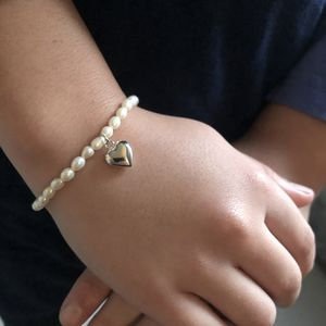 Girl's Pearl Bracelet With Sterling Silver Heart Charm