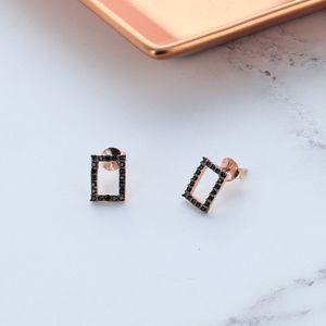 Black Zircon Rose Gold Square Earrings