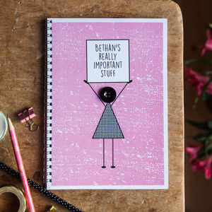 'Really Important Stuff' Personalised Girls Notebook