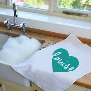 Personalised Heart Tea Towel - kitchen accessories
