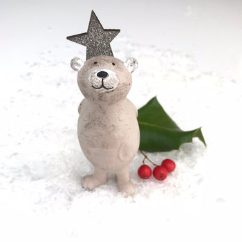 Christmas Scruffy Bear With Star