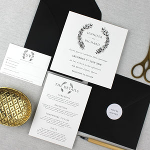 'The Jennifer' Monochrome Wreath Wedding Invitation