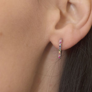 Silver Or Gold Rainbow En Pointe Hoop Earrings - precious gemstones