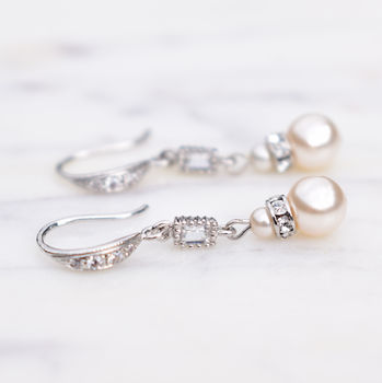 Pearl And Crystal Baguette Long Drop Earrings