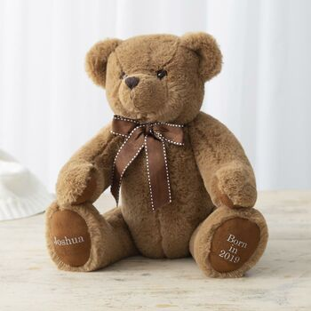 Personalised Traditional 'Born In' Brown Bear