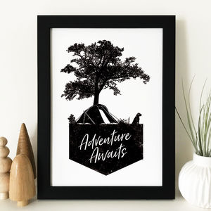 Adventure Awaits / Let's Go Illustrated Print With Dog