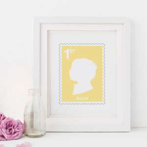 Personalised First Class Stamp Silhouette Print - children's room