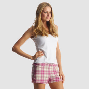 Pink Check Pyjama Shorts - women's fashion