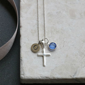 Silver Cross Personalised Birthstone Necklace - children's jewellery