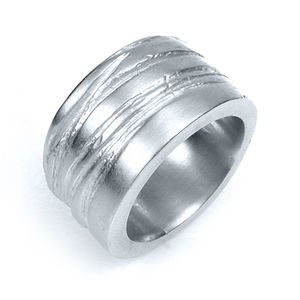 Wide Silver Texture Bound Ring - rings