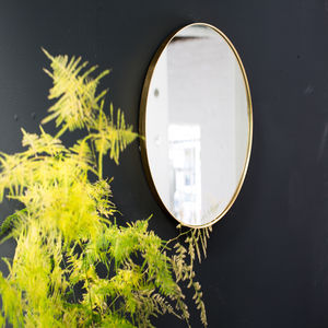 Gold Round Edged Mirror With Lip - mirrors