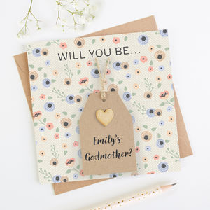 Will You Be My Godmother Personalised Card - be my godparent?