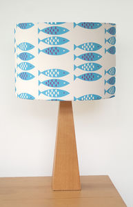 Newlyn Fish Pattern Drum Lampshade - lampshades