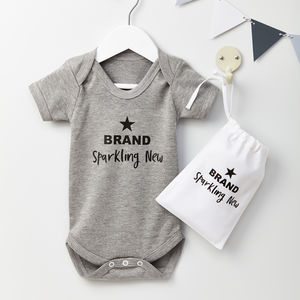 Baby Shower Brand Sparkling New Baby Grow Gift - summer sale