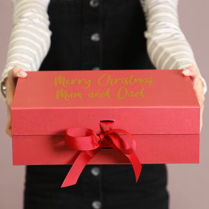 Personalised Luxury Red Gift Boxes With Ribbon