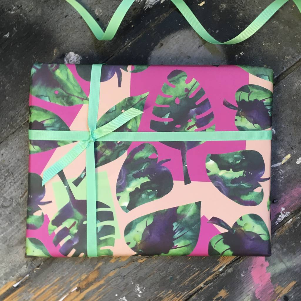 Tropical Monstera Leaf Gift Wrapping Paper Set