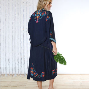 Mexico Night Organic Cotton Long Kimono - women's fashion