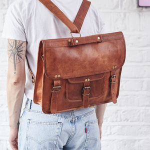 Convertible Leather Backpack Satchel - gifts for him