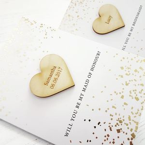 Gold Foil Be My Bridesmaid Personalised Card - be my bridesmaid?
