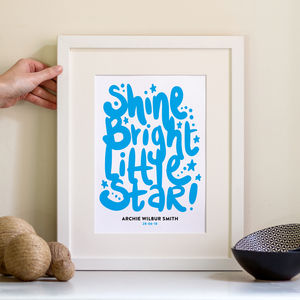 Shine Bright Childrens Personalised Print