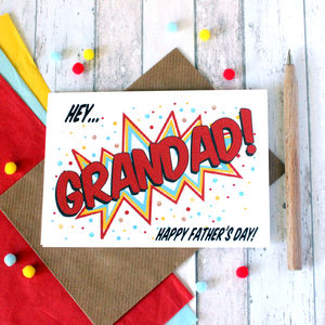 Personalised Father's Day Card For Grandad, Pop Art