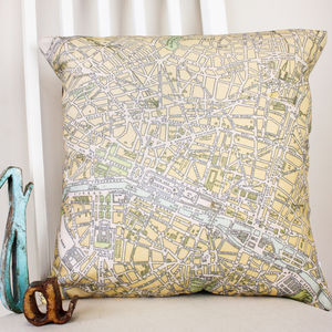 Vintage Paris Map Print Cushion