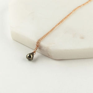 Rose Gold Pyrite Drop Neckace