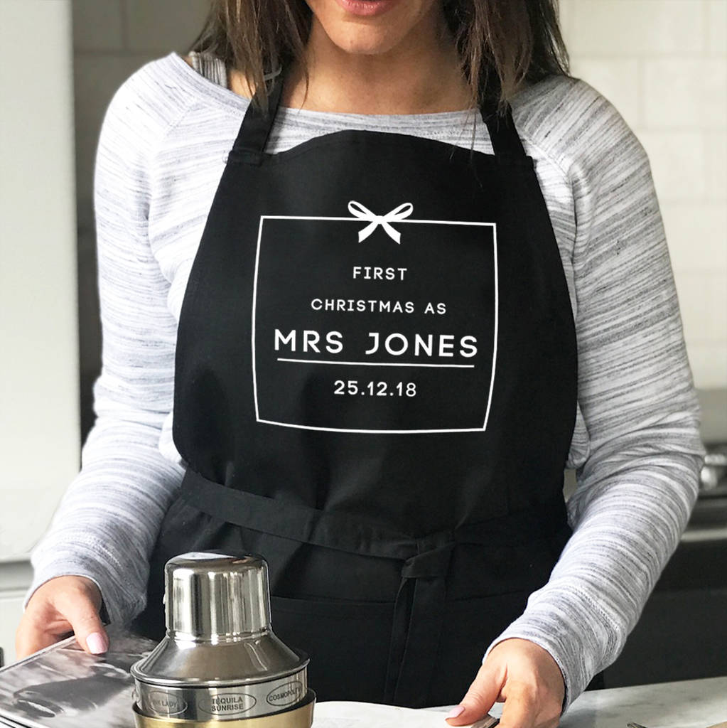 'First Christmas As Mrs…' Personalised Christmas Apron