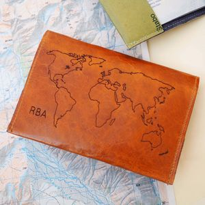 Leather Passport Cover With World Map Personalised - gifts for him