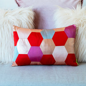 Kimono Cushion Pink Red Hexagon Design