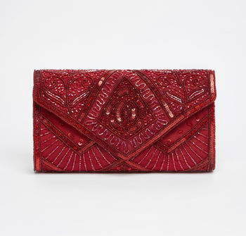 Scarlet Art Deco Embellished Clutch Bag In Red