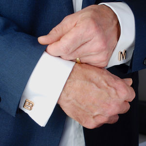 Personalised Rose Gold Initial Letter Cufflinks - gifts for him