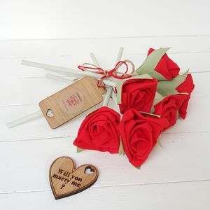 40th Anniversary Fabric Red Roses With Engraved Tag
