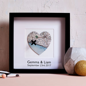 Personalised Cross Marks The Spot Vintage Map Picture