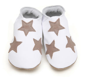 Girls, Boys Soft Baby Shoes White With Taupe Stars - shoes & footwear
