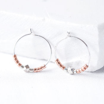 Limited Edition Rose Gold And Silver Nugget Hoop