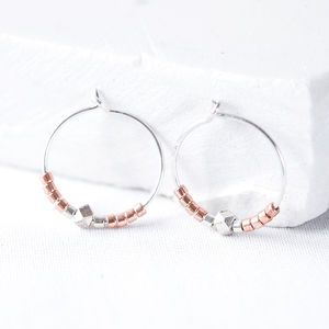 Limited Edition Rose Gold And Silver Nugget Hoop - earrings