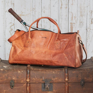Personalised Leather Duffle Style Gym Bag - luggage
