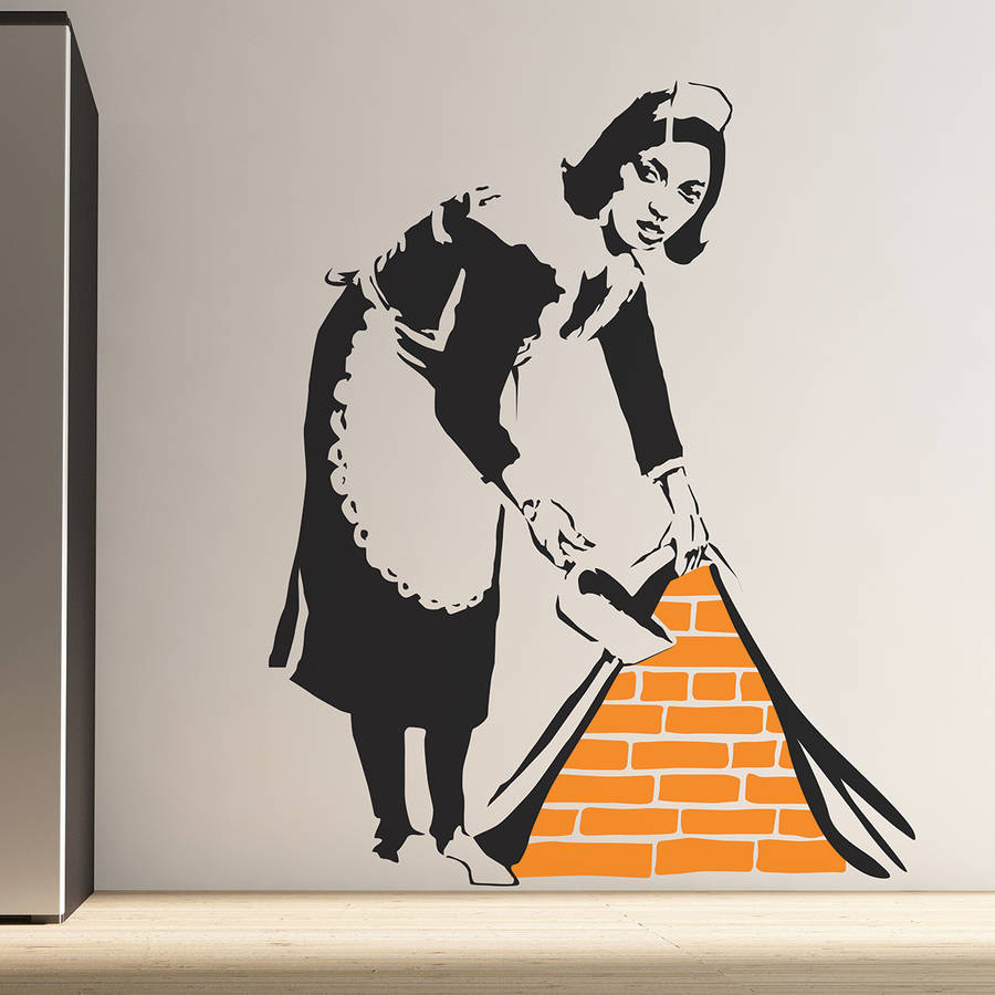 banksy maid wall stickers by the binary box. Black Bedroom Furniture Sets. Home Design Ideas