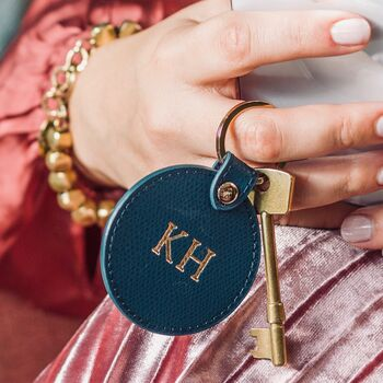 Monogrammed Leather Key Ring