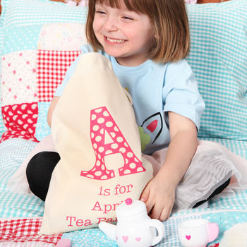 Wooden Toy Tea Set With Personalised Drawstring Bag