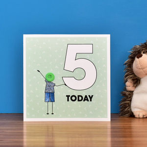 Children's Birthday Age Button Card