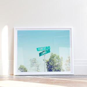 Personalised Happy Couple American Street Sign Print - 1st anniversary: paper