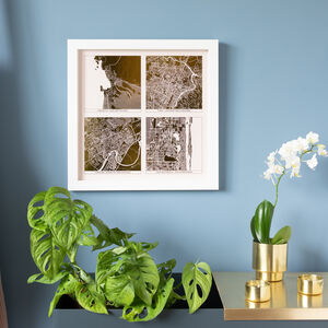 Square Metallic Multi Location Map Print